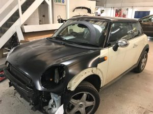 Mini front end damage