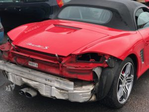 Porsche rear bumper damage