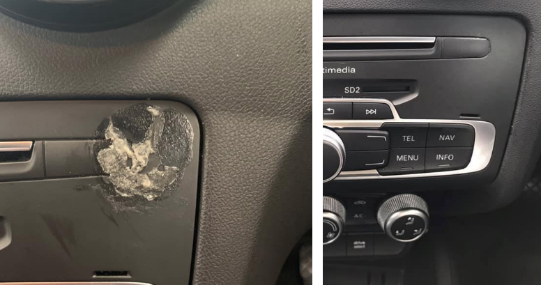 before and after Audi dashboard